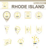 Rhode Island Flag Collection. USA State, 12 versions stock illustration