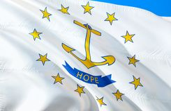 Rhode Island flag. 3D Waving USA state flag design. The national US symbol of Rhode Island state, 3D rendering. National colors. And National flag of Rhode royalty free stock images