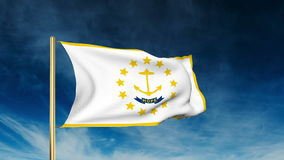 Rhode island flag slider style. Waving in the win stock footage