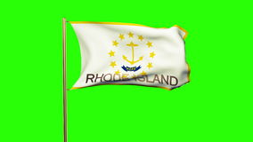 Rhode island flag with title waving in the wind stock video footage