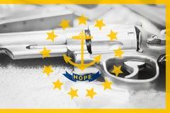 Rhode Island flag U.S. state Gun Control USA. United States. Gun Laws Stock Image