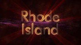 Rhode Island - glänzende Schleifungszustandsnamen-Textanimation stockfotos