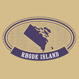 Rhode Island map silhouette - stamp of state Stock Photos