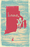 Rhode Island nostalgic rustic vintage state vector sign Royalty Free Stock Images