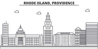 Rhode Island, Providence architecture line skyline illustration. Linear vector cityscape with famous landmarks, city Stock Photos
