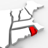 Rhode Island Red Abstract 3D State Map United States America. A red abstract state map of Rhode Island, a 3D render symbolizing targeting the state to find its Stock Image