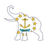 Rhode Island Republican Elephant Flag Imágenes de archivo libres de regalías