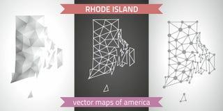 Rhode Island-Satz Grau und polygonale Karten des Silbermosaiks 3d Grafische Vektordreieckgeometrieentwurfs-Schattenperspektive ze Stockbild