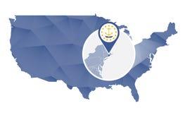 Rhode Island State ampliou no mapa do Estados Unidos ilustração do vetor
