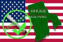 Rhode Island State on cannabis background. Drug policy. Legalization of marijuana on USA flag, Stock Photos