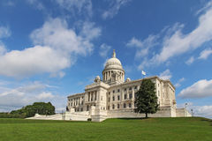 The Rhode Island State House on Capitol Hill. Wide-angle view of the front of the Rhode Island state capitol building as it sits on Capitol Hill in Providence Stock Photography