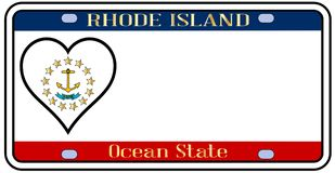 Rhode Island State License Plate illustration stock