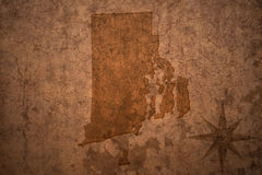 Rhode island state map on a old vintage paper background Stock Photography