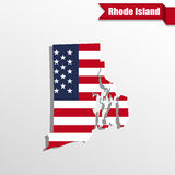 Rhode Island State map with US flag inside and ribbon Stock Photo