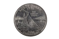 Rhode Island Tail United States-Kwartmuntstuk Royalty-vrije Stock Foto's