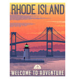 Rhode Island travel poster or sticker Royalty Free Stock Photos