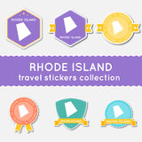 Rhode Island travel stickers collection. Royalty Free Stock Photo