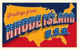 Free Rhode Island USA. Retro Style Postcard With Patriotic Stars And Stripes Lettering Royalty Free Stock Images - 183818539