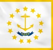 Rhode Island Waving Flag Rhode Island Staatsflaggenhintergrundbeschaffenheit lizenzfreie abbildung