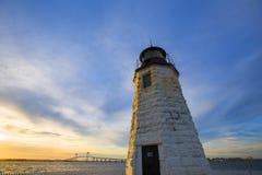 Rhode - wyspa: Koźlia wyspy latarnia morska Fotografia Stock