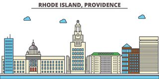Rhode - wyspa, opatrzność tła miasta projekta linia horyzontu wektor twój ilustracji