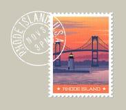Rhode - wyspy Newport most znaczek pocztowy ilustracji
