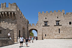 Rhodes. Tourists in rhodes ancient city Stock Photos
