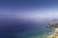 Rhodes. Birds-view of Tsambika Beach from Tsambika Monestery Royalty Free Stock Photography