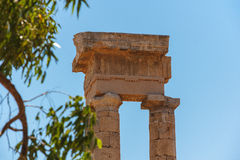 Rhodes Acropolis Columns Detail Fotografia Stock Libera da Diritti