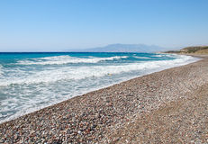 Rhodes Aegean  Sea Coastline. Stock Photo