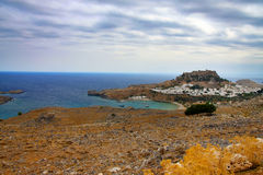 Rhodes. Aerial view on St. Paul's bay in Lindos. Stock Image