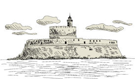 Rhodes ancient fort. EPS 10 vector sketch illustration without transparency and meshes Stock Photos