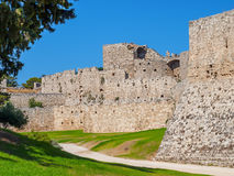 Rhodes ancient old town stone walls Royalty Free Stock Photo