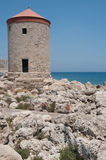 Rhodes bay/windmill Stock Image