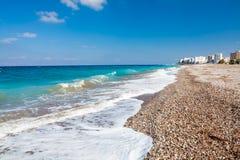 Rhodes Beach Greece. Sunny day on Akti Miaouli Beach at Rhodes Greece Europe Stock Photos