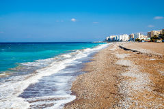 Rhodes Beach Greece. Sunny day on Akti Miaouli Beach at Rhodes Greece Europe Royalty Free Stock Photos