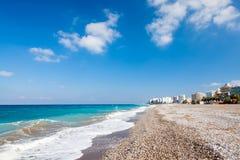 Rhodes Beach Greece. Sunny day on Akti Miaouli Beach at Rhodes Greece Europe Royalty Free Stock Image
