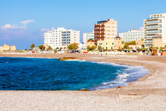 Rhodes Beach Greece. Sunny day the Beach at Rhodes Greece Europe Royalty Free Stock Photo