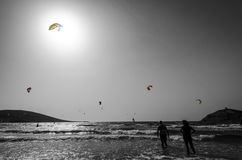 Rhodes beach for surfers in monochrome Stock Photos