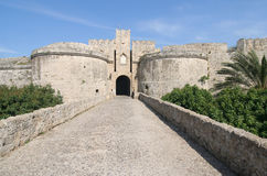 Rhodes Castle. Gate of Rhodes Crusader Castle stock photography