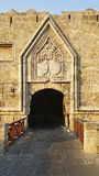 Rhodes castle bastion and gate. A medieval gate to the Castle of Rhodes royalty free stock image