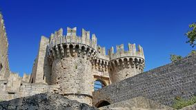 Rhodes castle bastion. And one of the castle`s gate stock photo