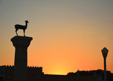 Rhodes city by sunset Stock Images