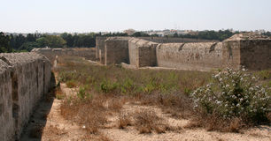 Rhodes city walls. The ancient city walls of Rhodes, Greece Royalty Free Stock Images
