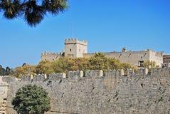 rhodes för slott för grandmastersgreece landmark gammal town arkivfoton