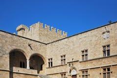 rhodes för slott för grandmastersgreece landmark gammal town royaltyfri bild