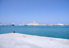 Rhodes Fort harbor Royalty Free Stock Photo