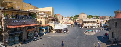 RHODES, GREECE - JUNE 26 2018: Hippocrates Square with water royalty free stock photography