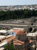 Rhodes in Greece. General view of Rhodes with byzantine church stock images