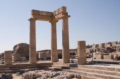 Rhodes greece. Acropolis of Lindos with its temples and the picturesque view of the sea royalty free stock photos